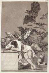 Spánek vzdělance vytváří monstra (Caprichos, č. 43: El sueño de la razon produce monstruos)
