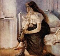 Dívka sedící na posteli. Olej na plátně. 1884. 89,5×103,5. Sbírka Rasmus Meyers, Bergen.