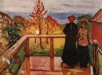 Na verandě. Olej na plátně. 1902. 86,5×115,5. Nasjonalgalleriet, Oslo.