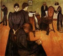 Smrt v pokoji nemocné. Olej na plátně. 1895. 150×167,5. Nasjonalgalleriet, Bergen.