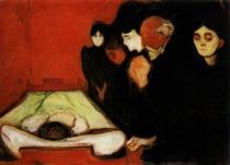 U úmrtního lože. Olej na plátně. 1895. 90×125. Sbírka Rasmus Meyers, Bergen.