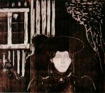 Měsíční svit. Barevný dřevořez. 1896. 42,2×46,7. Oslo Kommunes Kunstsamlinger, Oslo.