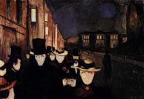 Večer na uliciKarla Johana. Olej na plátně. 1892. 84,5×121. Sbírka Rasmus Meyers, Bergen.