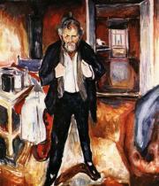 Vlastní portrét - Vnitřní neklid. Olej na plátně. Asi 1919. 151×130. Munch-Museet, Oslo.