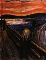 Výkřik. Olej, kvaš a pastel na lepence. 1893. 91×74. Nasjonalgalleriet, Oslo.