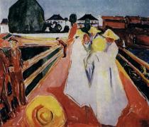 Ženy na mostě. Olej na plátně. Kolem 1935. 119,5×129,5. Munch-Museet, Oslo.