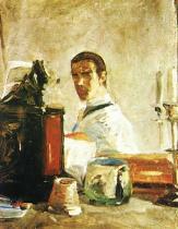Autoportét. Olej na lepence. 1880. 40,3×32,4. Musée Toulouse-Lautrec, Albi.