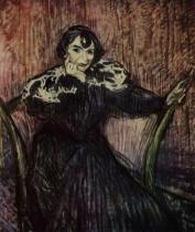 Berthe Badyová. Tempera, kartón. 1897. 69×58. Musée Toulouse-Lautrec, Albi.