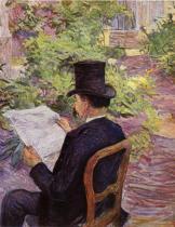 Désiré Dihau čte noviny. Olej, lepenka. 1891. 56×45. Musée Toulouse-Lautrec, Albi.