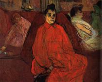 V salóně: Divan. Olej a pastely na lepence. 1893-4. 60×80. Museu de Arte de São Paulo.