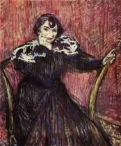 Herečka Berthe Badyová. Olej, lepenka. 1897. 70,3×60. Musée Toulouse-Lautrec, Albi.