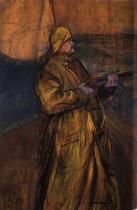 Maurice Joyant v zátoce. Olej na dřevě. 1900. 116,5×81. Musée Toulouse-Lautrec, Albi.