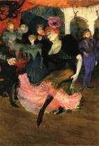 """Marcelle Lender tančící bolero v """"Chilpéricu"""" (detail). Olej na plátně. 1896. 145×150. National Gallery of Art, Washington, DC."""