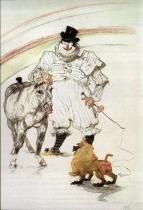 V cirkuse: Představení klauna, koně a opičky. Černá křída, barevné tužky a tuha. 1899. 44×26,7. Soukromá sbírka.