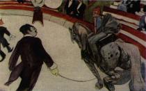 Krasojezdkyně v cirkuse Fernando. Olej na plátně. 1888. 98×161. The Art Institut v Chicagu.