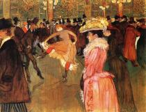 V Moulin Rouge: Tanec. Olej na plátně. 1889-90. 115 × 150. Philadelphia Museum of Art, Philadelphia.