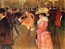 V Moulin Rouge: Tanec. Olej na plátně. 1889-90. 115×150. Philadelphia Museum of Art, Philadelphia.