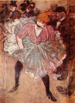 Tanec v Moulin Rouge. Olej, plátno. 1895. 298×316. Musée du Louvre, Paříž. Detail.