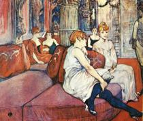 V saloně Rue des Moulins. Uhel a olej na plátně. 1894. 115,5×132,5. Musée Toulouse-Lautrec, Albi.