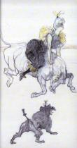 V cirkuse: Žena klaun. Barevné křídy na bílém papíře. 1899. 35,6×25,4.
