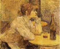 Pijící žena. Olej a černá tužka na plátně. 1887-89. 47,1×55,5.