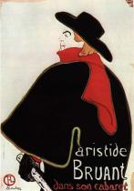 Alcazar Lyrique: Arstistide Bruant. Barevná litografie, plakát. 1893. 127×92,5.