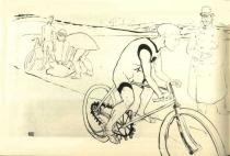 Cyklista Michael. Litografie. 8×12. 1896. Musée Toulouse-Lautrec, Albi.