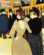 La Golue se sestrou v Moulin Rouge. Barevná litografie. 1892.