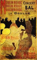 Moulin Rouge: La Goulue s Valentinem le Désossé. Kolorovaná litografie, plakát. 1891. 193&nbsp;&times;&nbsp;122. Bibliothéque Nationale, Paříž.<br />První Lautrecův plakát.