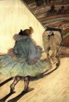 V cirkuse: Vstup do manéže. Chromová litografie. 1905.