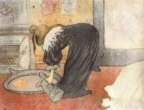 Žena s umyvadlem (z cyklu Ony). Barevná litografie. 1896. 40×52. Národní galerie, Praha.
