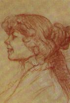 Anglická dívka ve Staru v Le Havru. Červený a bílý uhel na modrošedém papíře. 62×47. 1899. Musée Toulouse-Lautrec, Albi.