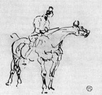 Jezdec na koni. Kresba perem. Asi 1880.