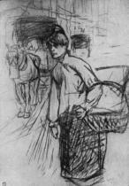 Pradlena (Suzanne Valadonová). Kresba uhlem. 1888. 65×48. Musée Toulouse-Lautrec, Albi.