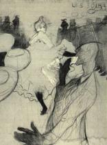 Skica Moulin Rouge: La Golue. Uhel zvýrazněný barvou. 1891. 154×118. Musée Toulouse-Lautrec, Albi.