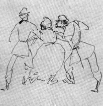 Strážníci odvádějící ženu. Kresba perem. 17,7×17,1. Nationalgalerie Staatliche Museen, Berlín.