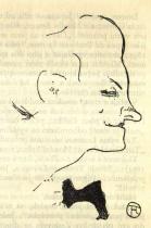 Yvette Guilbertová zdraví publikum. Olejem kolorovaná fotografická zvětšenina litografie. 1894. 48×28. Musée Toulouse-Lautrec, Albi.
