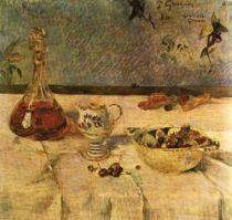 Bílý ubrus (Penzión M. - J. Gloanecové). Olej na lepence. 55×58,5. Sbírka Michaela Astora, Londýn.