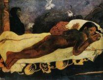 Duch mrtvých bdí (Manao Tupapau). Olej na plátně. 1892. 73×92. Metropolitan Museum of Art, New York.