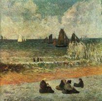 Pláž v Dieppe. Olej na plátně. 1885. 71,5×71,5. Ny Carlsberg Glyptotek, Kodaň.