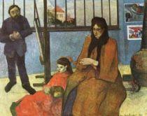 Matte Gauguinová s dětmi - na klíně drží Polu, nalevo Clovis, napravo Jean, vzadu Aline a Emil.
