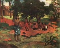 Parau parau (Rozhovor). Olej na plátně. 1892. 76×96. Sbírka Johna Haye Whitneye, New York.