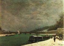 Seina u Jenského mostu. Olej na plátně. 1875. 64×92. Louvre, Paříž.