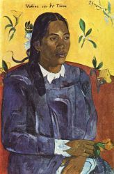 Žena s květinou (Vahine no te Tiare). Olej na plátně. 1891. 70,5×46,5. Ny Carlsberg Glyptotbek, Kodaň.