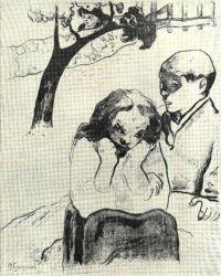 Dvojice pod stromem. Litografie. 1892.