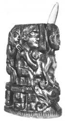 Idol s lasturou. 1893. Vyřezávaný válec z tvrdého brazilského dřeva (syderoxylon). 27×14. Louvre, Paříž.