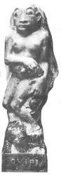 Oviri. Asi 1894-95. Kamenina, částečně glazurovaná. Výška 73. Soukromá sbírka, Paříž.
