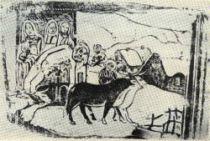 Otisk dřevorytu Bretaňská kalvárie. Reprodukce obrazu z roku 1889.