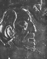 Vlastní podobizna (detail). Asi 1893. Bronzový reliéf. 34,3×35,6. Art Institute, Chicago.