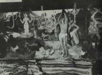 Odkud přicházíme? Kdo jsme? Kam jdeme?, obraz vyfotografovaný v Gauguinově ateliéru roku 1898.